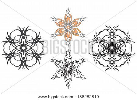 Four floral flowers artwork collection - tattoo vector
