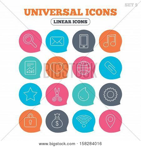 Universal icons. Smartphone, mail and musical note. Heart, globe and share symbols. Paperclip, scissors and water drop. Flat speech bubbles with linear icons. Vector