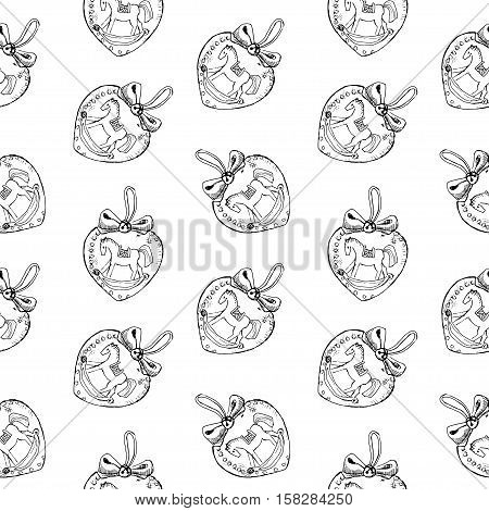 Seamless pattern of vintage hand drawn balls and horse toys. Christmas and New Year design elements.