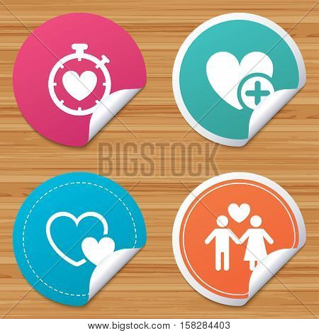 Round stickers or website banners. Valentine day love icons. Love heart timer symbol. Couple lovers sign. Add new love relationship. Circle badges with bended corner. Vector