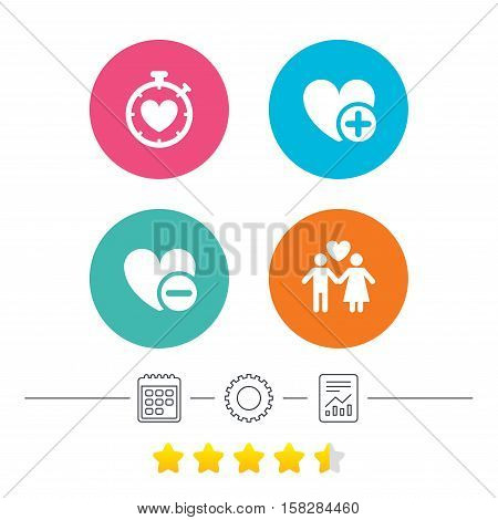Valentine day love icons. Love heart timer symbol. Couple lovers sign. Add new love relationship. Calendar, cogwheel and report linear icons. Star vote ranking. Vector
