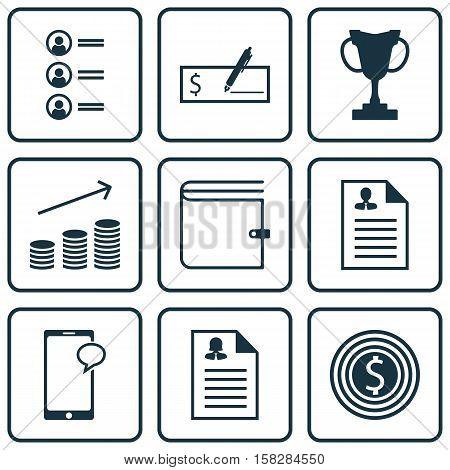 Set Of Human Resources Icons On Job Applicants, Business Goal And Coins Growth Topics. Editable Vect