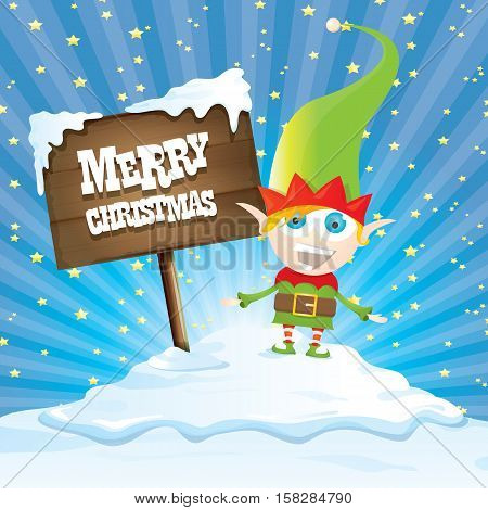 vector cartoon cute merry Christmas elf standing on winter snow landscape near wooden sign board with greeting text merry christmas and christmas lights behind. merry christmas vector illustration