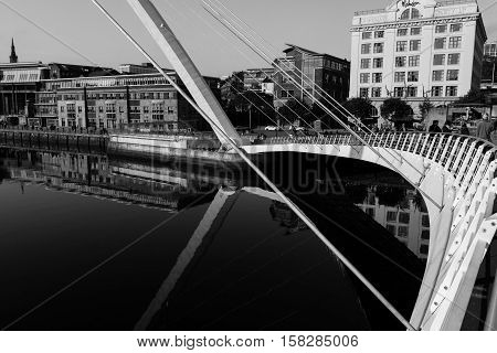 Section of the Gateshead Millenium Foot Bridge in Newcastle England- Black and White