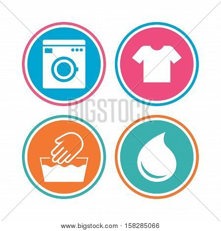 Wash machine icon. Hand wash. T-shirt clothes symbol. Laundry washhouse and water drop signs. Not machine washable. Colored circle buttons. Vector