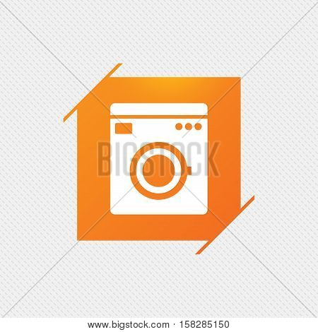 Washing machine icon. Home appliances symbol. Orange square label on pattern. Vector