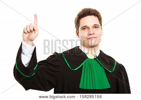 Understanding and explaining sending clear message. Young lawyer wear polish toga and show hand sign. Man make gesture hold one finger in air.