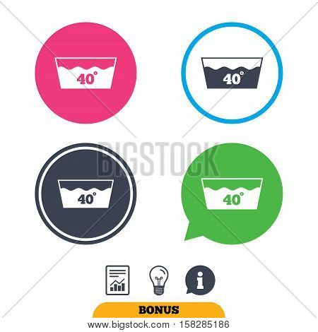 Wash icon. Machine washable at 40 degrees symbol. Report document, information sign and light bulb icons. Vector