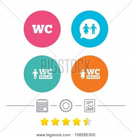 WC Toilet icons. Gents and ladies room signs. Man and woman speech bubble symbol. Calendar, cogwheel and report linear icons. Star vote ranking. Vector