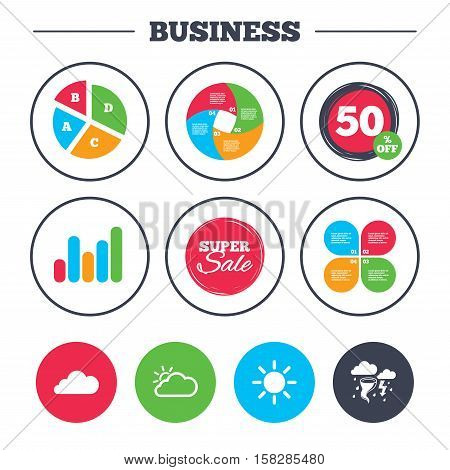 Business pie chart. Growth graph. Weather icons. Cloud and sun signs. Storm or thunderstorm with lightning symbol. Gale hurricane. Super sale and discount buttons. Vector