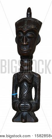 African wooden statue of small idol with the hat