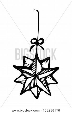 Christmas ornament star zentangle style in black and white for coloring book