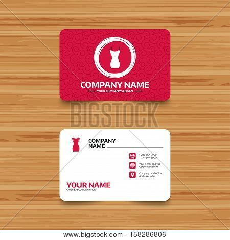 Business card template with texture. Women dress sign icon. Intimates and sleeps symbol. Phone, web and location icons. Visiting card  Vector