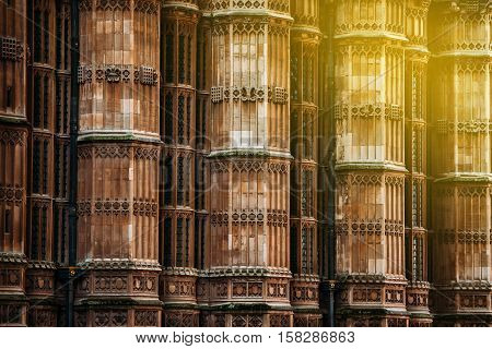 The columns around King Henry VIII's chapel Westminster Abbey London United Kingdom
