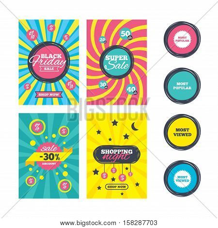 Sale website banner templates. Most popular star icon. Most viewed symbols. Clients or customers choice signs. Ads promotional material. Vector