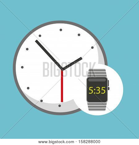 smart watch technology with clock analog vector illstration eps 10