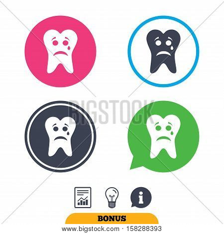 Tooth sad face with tear sign icon. Aching tooth symbol. Unhealthy teeth. Report document, information sign and light bulb icons. Vector