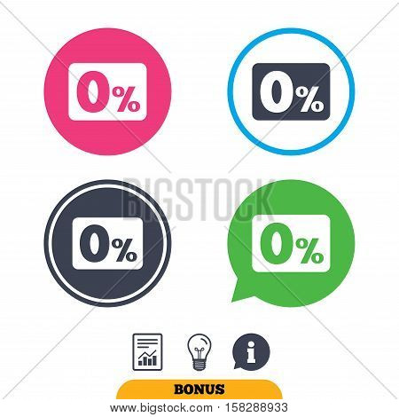 Zero percent sign icon. Zero credit symbol. Best offer. Report document, information sign and light bulb icons. Vector