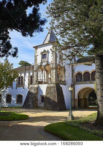 Evora Portugal - November 29 2016. Palacio de Dom Manuel palace (Paco Real de Sao Francisco) in Jardim publico garden of Evora. Alentejo Portugal.