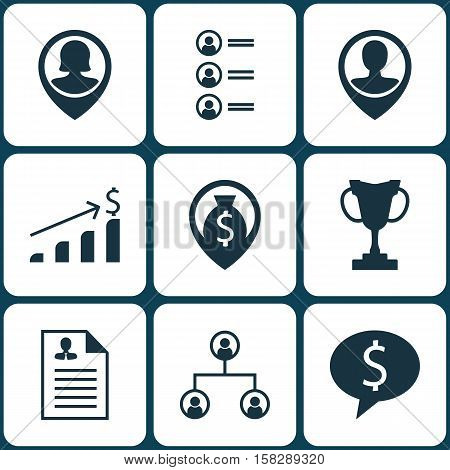 Set Of Human Resources Icons On Employee Location, Pin Employee And Job Applicants Topics. Editable