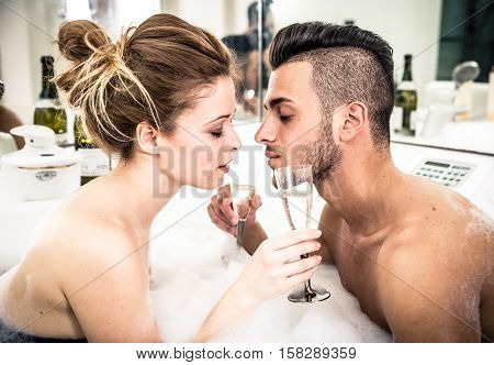Couple in the jacuzzi- Celebrating their anniversary