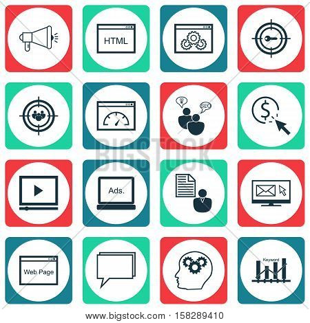 Set Of Seo Icons On Website, Keyword Optimisation And Media Campaign Topics. Editable Vector Illustr