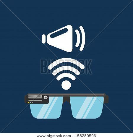 glasses technology speaker application media vector illustration eps 10