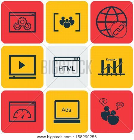 Set Of Advertising Icons On Keyword Optimisation, Website Performance And Questionnaire Topics. Edit