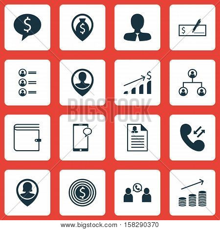 Set Of Hr Icons On Business Goal, Cellular Data And Money Navigation Topics. Editable Vector Illustr