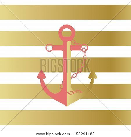 Illustration of a ship anchor and chain in a pink and gold color with a gold and white stripped background.