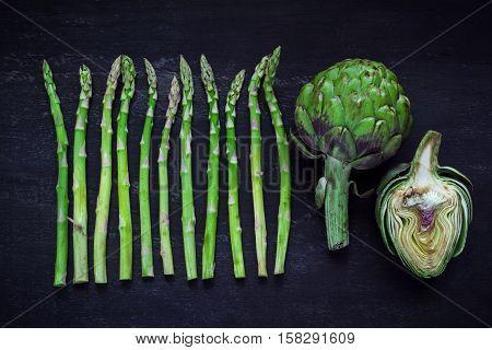 Asparagus And Artichoke, Top View