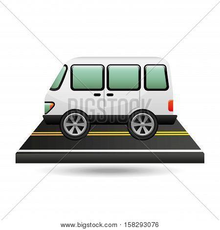 white van transport on road design vector illustration eps 10