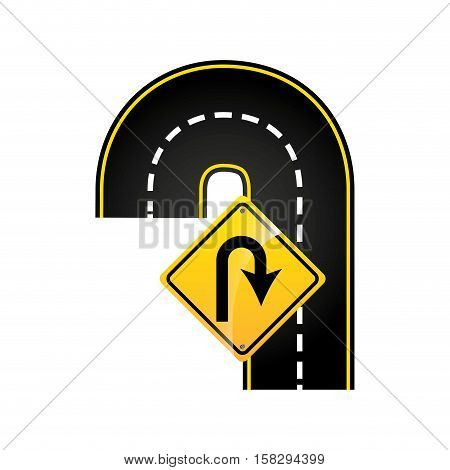u-turn road sign concept graphic vector illustration eps 10