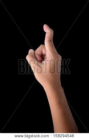 Hand of male trigger finger isolated on black with clipping path