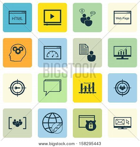 Set Of Marketing Icons On Focus Group, Website And Loading Speed Topics. Editable Vector Illustratio