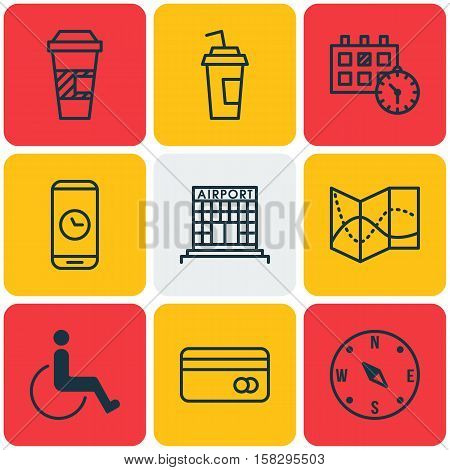 Set Of Transportation Icons On Accessibility, Call Duration And Road Map Topics. Editable Vector Ill