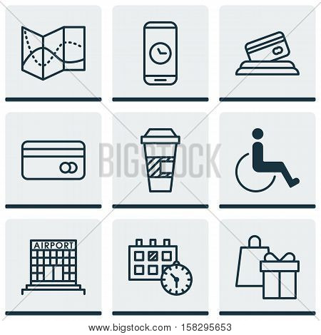 Set Of Transportation Icons On Appointment, Road Map And Accessibility Topics. Editable Vector Illus