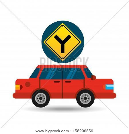 fork road sign sedan red vector illustration eps 10