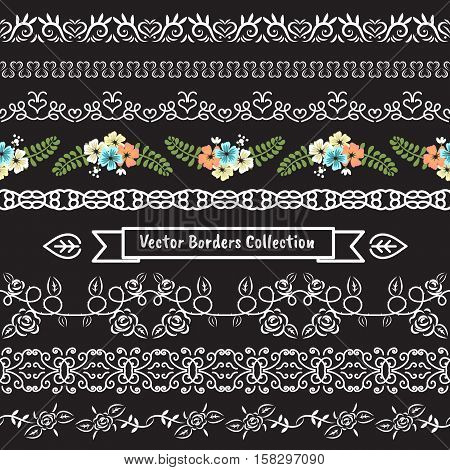 Seamless vector border pattern valentine and wedding collection set.