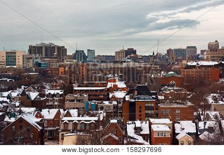 Scenic view of winter town on dusk Toronto Canada, city urban view, landscape winter