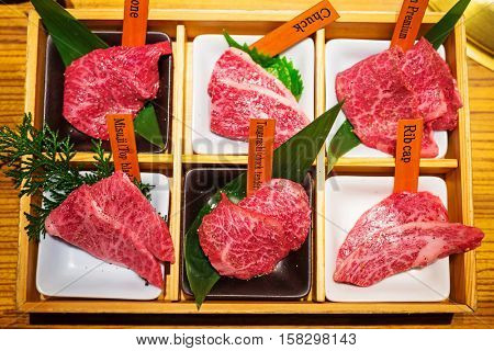 Sliced premium beef for japanese yakiniku style barbecue