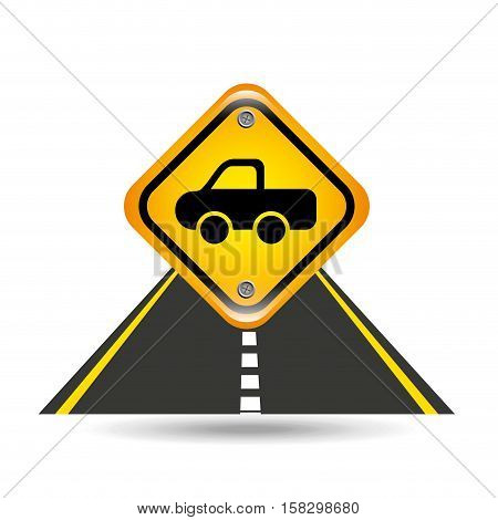 pick up truck yellow road street sign vector illustration eps 10
