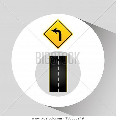 turn left road sign concept graphic vector illustration eps 10
