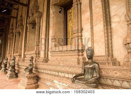 Buddha image in Ho Pra Keo Temple Vientiane