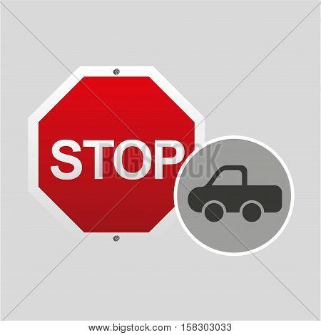 pick up truck stop road sign design vector illustration eps 10