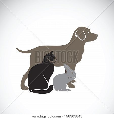 Vector group of pets - Dog Cat Rabbit isolated on white background Vector illustration. Pet Lovers