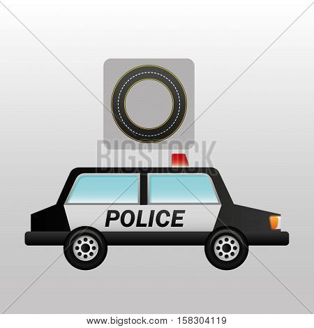 police car side circle road way design vector illustration eps 10