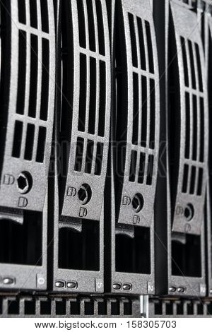 close-up of hard drives in data center poster
