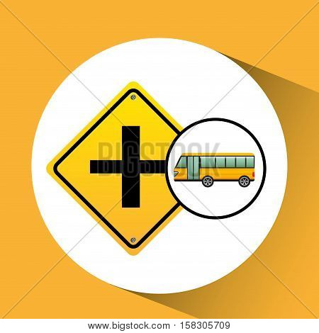 bus yellow with crossroad vector illustration eps 10