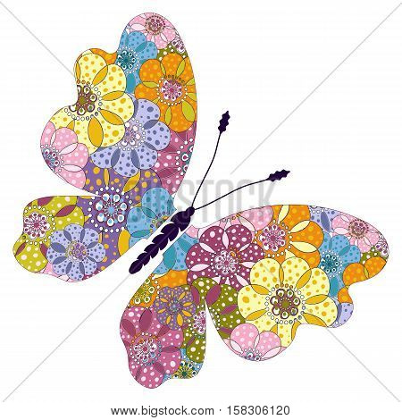 Spring bright colorful floral butterfly isolated on white vector
